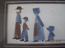 Amish Family Watercolor by Graebner 1988 Signed Inspirational