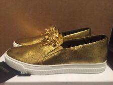 VERSACE MEDUSA oro Resbalón en Zapatillas De Cuero Zapatos de Skate Talla Reino Unido 8.5/EU 42.5 £ 895
