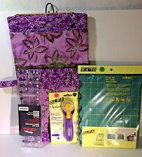 "Quilted Travel Quilt Kit Purple Batik Fabric 11""Wx20""+ Ruler Cutting Mat Cutter"