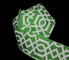"25 Feet Green White Art Deco Design Wired Ribbon 2 1/2""W"