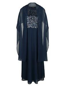 Marken Abendkleid aus Chiffon mit Stola marine Gr. 42, 46, 48, 50 54  0420830982