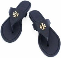 NEW Tory Burch Jolie Flat Thong Tumbled Leather Sandal Shoes - Navy SZ 7