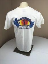 Vintage 90s Beach Rays Floral Surfer Beach White T-shirt Short Sleeve Large USA
