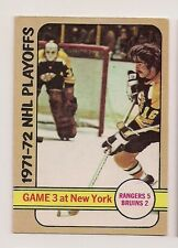 1972-73 OPC #30 NHL PLAYOFFS GAME 3 BRUINS RANGERS  O-PEE-CHEE