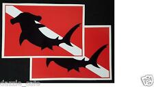 "Dive Flags Hammerhead Silhouette on Dive Flag - Set of two 5"" Sticker Decals 197"