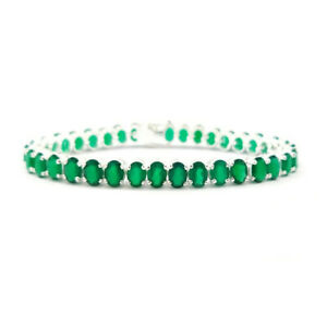 Natural Green Onyx Oval Faceted Gemstone 925 Sterling Silver Tennis Bracelet #A3