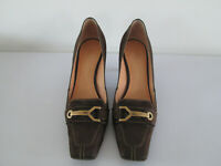 LOUIS VUITTON WOMENS HIGH HEEL SHOES BROWN LEATHER LV MONOGRAM BUCKLE 38.5 UK5.5