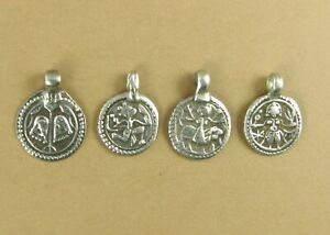 Old /antique Indian Tribal pendant. Protection Amulet. Round. Small. Fine silver