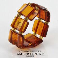 Dark Fiery Orange German BALTIC AMBER Handmade Elastic Ring RB040 RRP £35!!!