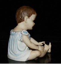 Vintage old Porcelain Baby Piano Doll figurine Germany bisque large handpainted
