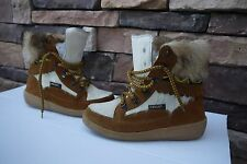Oscar Sport Alessia Boots Goat Fur Leather Shearling Lined Women's US 8 EU 39