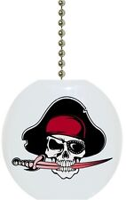 Jolly Roger Pirate Solid Ceramic Ceiling Fan Light Lamp Pull