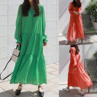 Women Long Sleeve Casual Floral Long Maxi Dress Kaftan Pleated Shirt Dress Plus