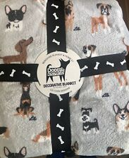 "NWT! CUTE! Multi Breed Puppy Dog Blanket Throw Full Queen Size 90"" x 90"""
