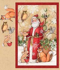"""Fabric Christmas Santa Old World on Panel 36"""" x 42"""""""
