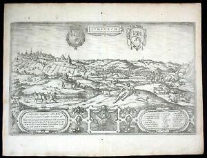 ca. 1575 Limbourg Belgium Braun Hogenberg map Plan gravure engraving Kupferstich
