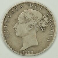 1886  HALF CROWN (1/2 CROWN) GREAT BRITAIN(UK) VF DETAILS SILVER KM#756 (071920)