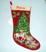 Sferra Christmas Toys Needlepoint Christmas Stocking Monogrammed VICTORIA New