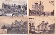 Lot 4 cartes postales anciennes CANTAL châteaux 2
