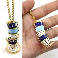 1x Women Long Necklace Enamel Glaze Cup Pendant Sweater Accessories S0C2
