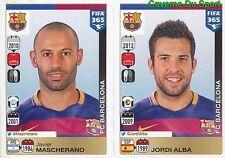 346-347 JAVIER MASCHERANO JORDI ALBA FC BARCELONA FIFA 365 PANINI