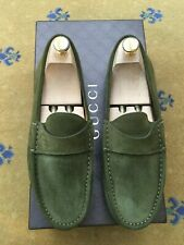 Gucci Mens Shoes Green Suede Loafers UK 7.5 US 8.5 41.5 Drivers