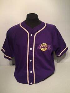 1990s Starter LA Los Angeles Lakers Baseball Jersey NBA Basketball Champions Lrg