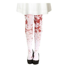 White Blood Stained Scary Halloween Fancy Dress Zombie Vampire Costume Tights