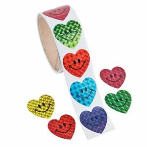 Prism Smile Face Heart Stickers - 1 Roll of 100 Stickers