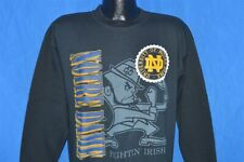vintage 90s NOTRE DAME FIGHTIN' IRISH BLACK CREWNECK SWEATSHIRT LARGE L