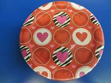 "Peace & Love Zebra Heart Valentine's Day Holiday Party 9"" Paper Dinner Plates"