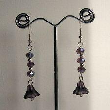 New Purple Crystal Rondelle & Purple Glass Flower Bead Silver Plated Earrings