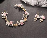 Bridesmaid Bridal Crystal Pearl Pink White Multicolour Rose Hair Vine Gold Tiara