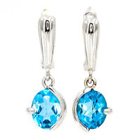 EARTH MINED 9X7MM SWISS BLUE TOPAZ NATURAL RARE GEM STERLING SILVER 925 EARRING