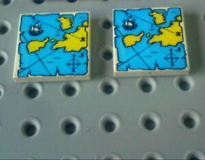 Lego Tile 2x2 +Print: Treasure Map [3068px9] White x2
