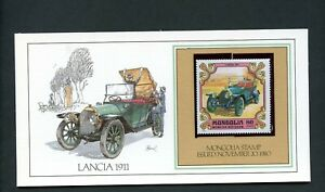 LOT 87814  USA  CARD + MINT STAMP FLEETWOOD CAR LANCIA 1911 MONGOLIA STAMP