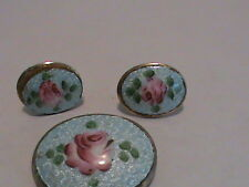 Vintage Brooch and Screw Back Earring Set Pink Roses on Blue Background
