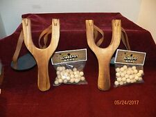 2--NEW  WOODEN  SLINGSHOTs WITH LEATHER AMMO POUCH & 2 BAGS OF AMMO -- NICE GIFT