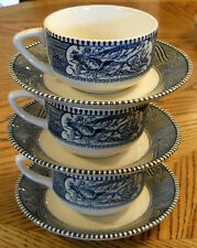 Currier & Ives China Coffee Cup & Saucer LOT Blue Transferware VG VTG
