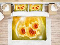 Wonderful Yellow Fragrant Rose 3D Quilt Duvet Doona Cover Set Pillow case Print