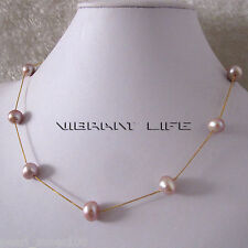"""18"""" 9-10mm Lavender AA Freshwater Pearl Necklace Tin Cup Gold Plated Chain G AC"""