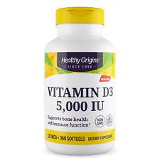 Healthy Origins Vitamina D-3, 5000 IU 360 Capsule