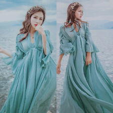 Women Fairy Medieval Maxi Long Dress High Waist Prom Gown Victorian Retro Beach