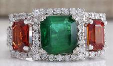 3.63 Carat Natural Emerald Sapphire 14K White Gold Diamond Ring
