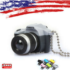 New Mini Digital SLR Camera LED Light Flashlight Sound Keychain Key Ring- Gray
