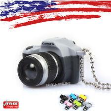 New Mini Digital SLR Camera LED Light Flashlight Sound Keychain Key Ring- Gray
