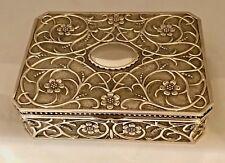 GODINGER LARGE SILVER PLATED JEWELRY BOX VELVET LINED FLORAL ART NOUVEAU VINTAGE