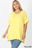 New! ZENANA plus size yellow rolled cuff short sleeve scoop neck hi/lo hem tee