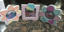 SET of 3 Pink Girls Flower Purple Picture Frames - Shabby Chic Babies R Us Kids