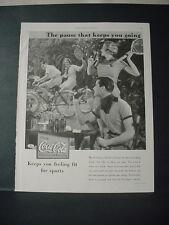 1934 Coca Cola Coke Soda People play Tennis Bike Awesome Vintage Print Ad 208
